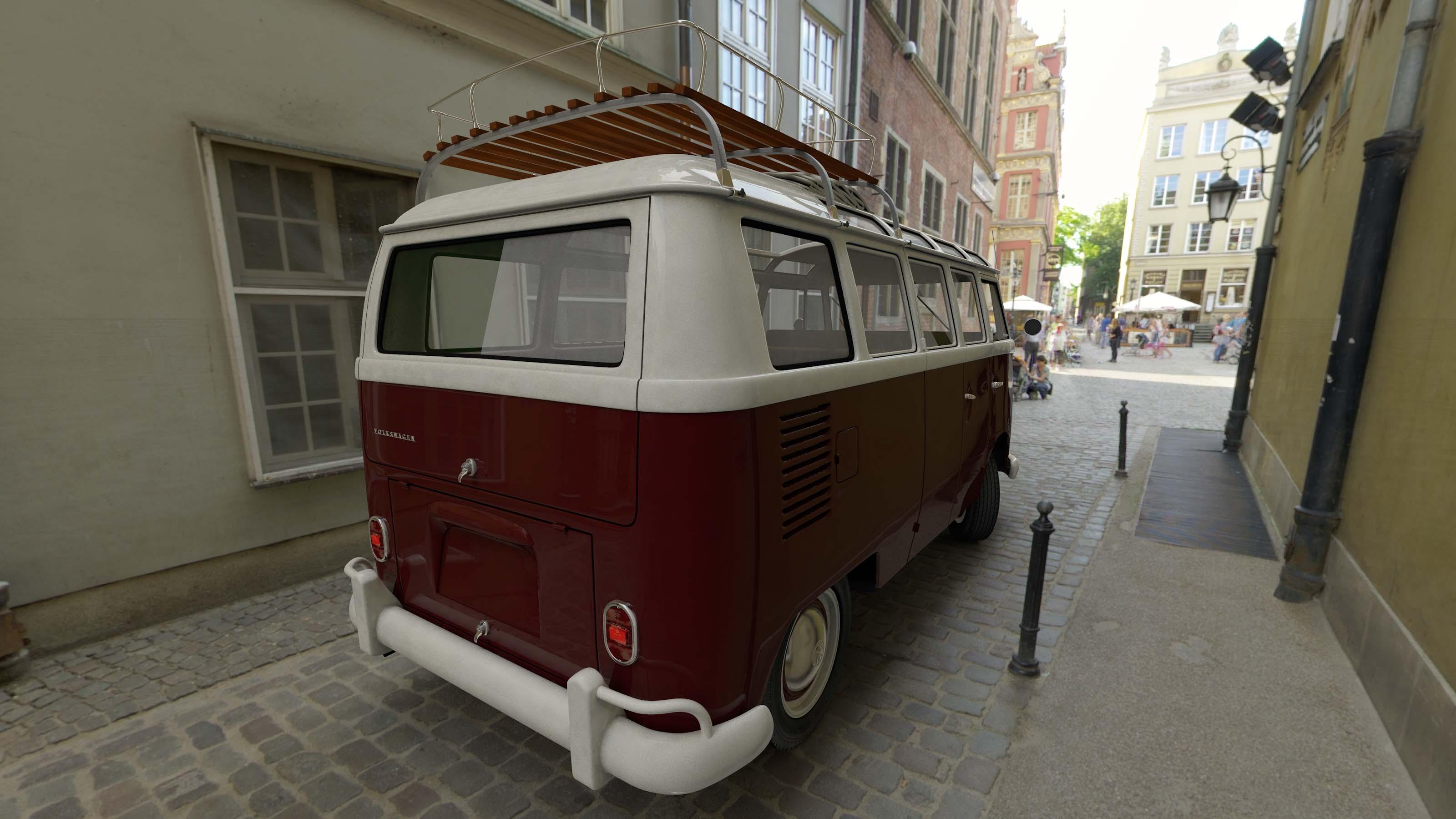 Volkswagen T1 Samba-bus 21 Pencere 1966 3D Render 02